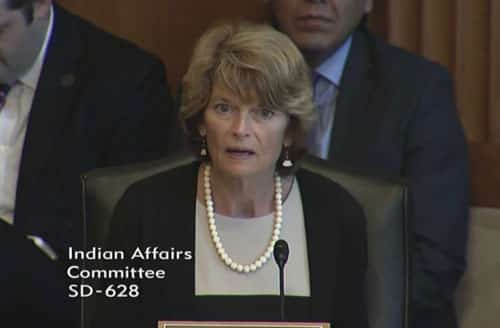 Senator Murkowski speaking to the Indian Affairs Committee on human trafficking in Alaska. Image-Office of Senator Murkowski
