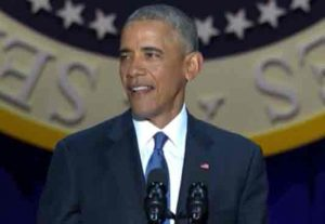 Obama at his Farewell Speech in Chicago. Image NYT video screengrab