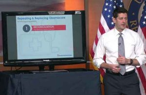 House Speaker Paul Ryan selling the repeal and replacement of Obamacare. Image-Video screengrab