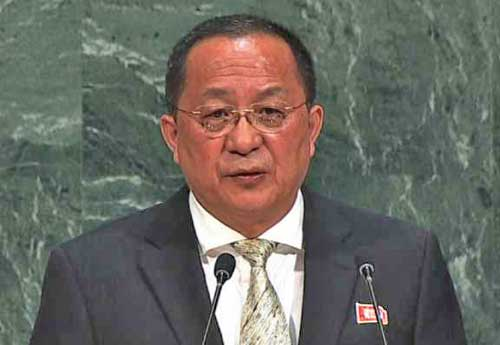 North Korea's Foreign Minister Ri Yong Ho. Image UN video screengrab