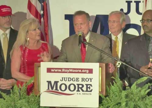 Senatorial candidate giving primary victory speech. Image-CNN video screengrab