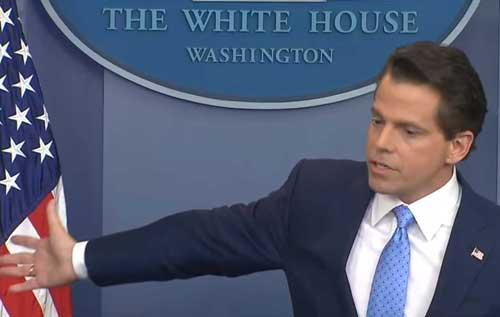 Anthony Scaramucci's first day at the press podium at the White House .