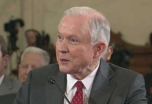 Attorney General Jeff Sessions saying he had not had any Russian contact. (video screengrab)