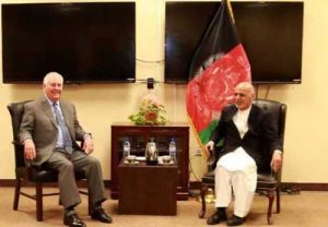 Secretary of State Tillerson and Afghan president, Ashraf Ghani at Bagram military base bunker.