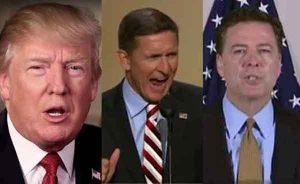 President Trump, former National Security Advisor Flynn, and former FBI Director Comey. Image-ANN