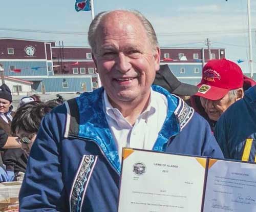 Governor Bill Walker in Utqiagvik, formerly Barrow, in June, where he signed HB 78. Image-State of Alaska