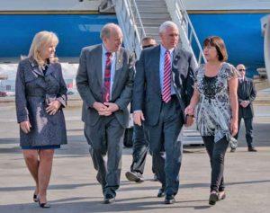 (left to right) First Lady Donna Walker, Governor Walker, Vice President Pence, Mrs. Karen Pence. Image-State of Alaska