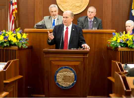 Governor Bill Walker delivering State of the State Address on Wednesday. Image-State of Alaska