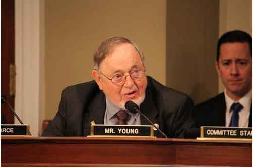 Congressman Young testifying on behalf of H.R. 212, the King Cove Land Exchange Act