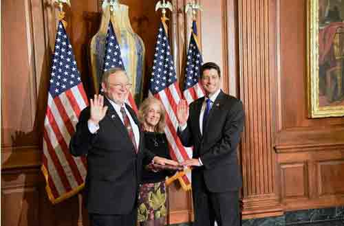 Congressman Don Young, Anne Walton Young and Speaker Paul Ryan during a ceremonial swearing-in
