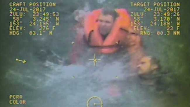 Rescue of crewmember after the capsize of the F/V Grayling. Image-Screengrab USCG video
