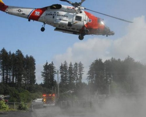 The crew of an Air Station Kodiak MH-60 Jayhawk helicopter and Kodiak Fire Department personnel depart after completing a medevac of an injured woman in Kodiak, Alaska, Aug. 1, 2014.