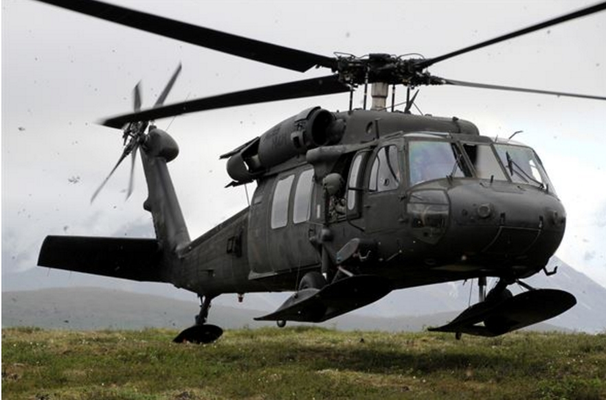 A UH-60 Black Hawk helicopter coming in for a landing.(U.S. Army photo by Spc. Reese Von Rogatsz)