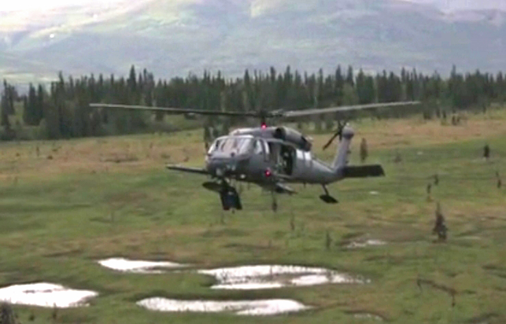 HH-60 Pave Hawk preparing to touch down on a training mission. Image-file/Alaska National Guard