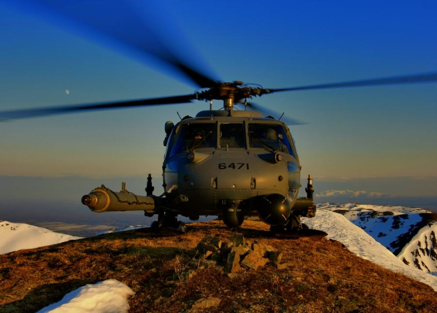 An HH-60 Pave Hawk from the 210th Rescue Squadron, Alaska Air National Guard, lands on Mount Spurr, a stratovolcano, in the Aleutian Arc of Alaska, in 2009. (Photo by Tech. Sgt. Sean Mitchell, courtesy of the Alaska National Guard)