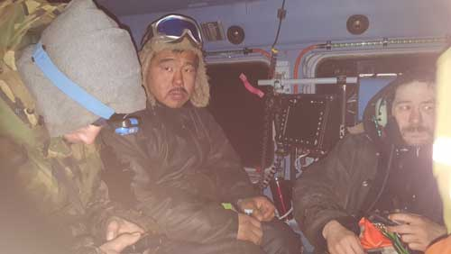 A Coast Guard Air Station Kodiak MH-60 Jayhawk helicopter crew rescued six hunters on St. Lawrence Island, Alaska, Oct. 22. U.S. Coast Guard photo