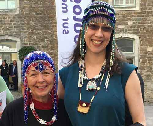 Margaret Roberts and April Laktonen Counceller at the opening of an Alaska Native art exhibit, Musée Boulogn-sur-Mer, France, 2016. Photograph courtesy of the Alutiiq Museum.