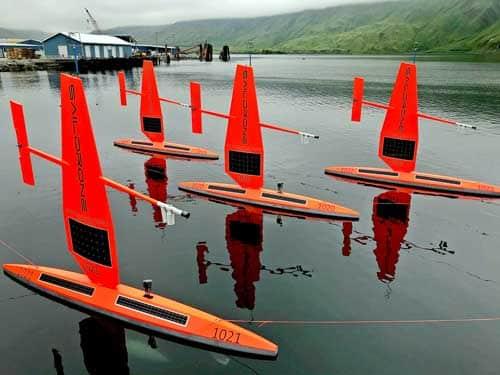 Saildrones waiting to begin their journey north. NOAA