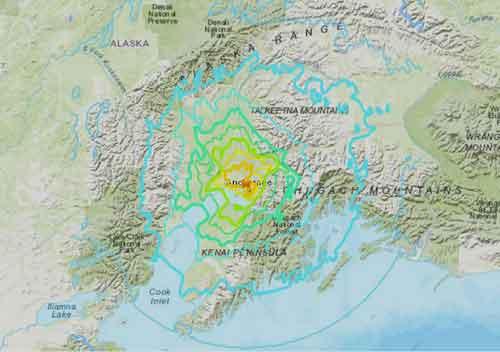 Friday morning shakemap of Anchorage earthquake. Image-USGS