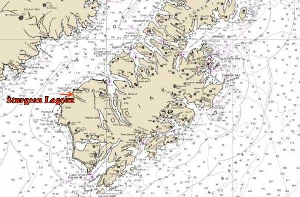 Location of Sturgeon Lagoon on Kodiak Island. Image NOAA Charts