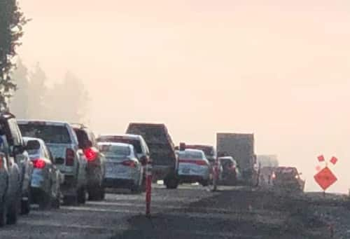 STERLING HWY OPEN: Expect delays MPs 75-53, be prepared for sudden closures due to Swan Lake fire activity & smoke