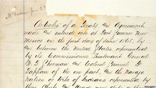 Detail of original copy of the U.S. Treaty with the Navajo, written on pages torn from an Army ledger on June 1, 1868 at Fort Sumner, NM. Courtesy, National Archives, Washington DC.