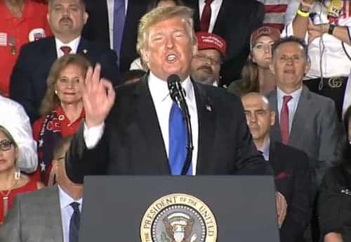 Trump speaking in Florida. Image-VOA