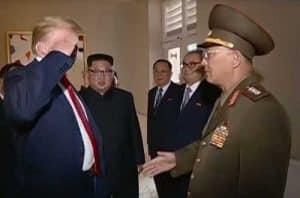 Trump saluting North Korean Gen. No Kwang Chol during Singapore summit. Image-Korean Central TV