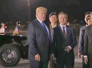 Trump just after Singapore arrival.