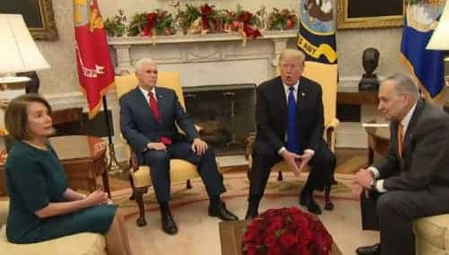 Trump, Pelosi,Schumer discussing wall and government shutdown. Image-CNBC video screenshot