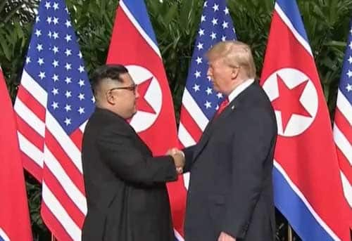North Korean leader, Kim Jong Un meets with U.,S. President Trump in Singapore. Image-CNBC video screenshot