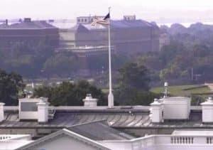 Flag over the White House Monday morning.
