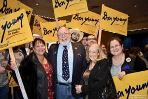 Don Young joined by his daughters Dawn (left), Joni (right) and wife Anne (middle) celebrating at Egan Center as results were reported.